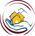 Grassroots Wellness Peer Run Respite Logo - Blue outlined hand holding three stylized, yellow houses, ringed by two red broken circles